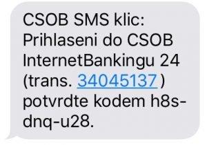Potvrzovací SMS zpráva