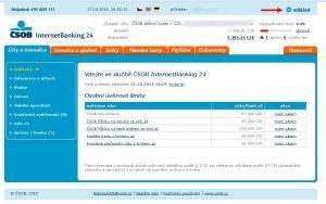 Úvodní stránka internetového bankovnictví ČSOB