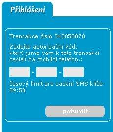 Zadání potvrzovacího SMS klíče