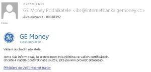 Podvodný e-mail GeMoney