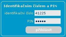 Zadání identifikačního čísla a PINu
